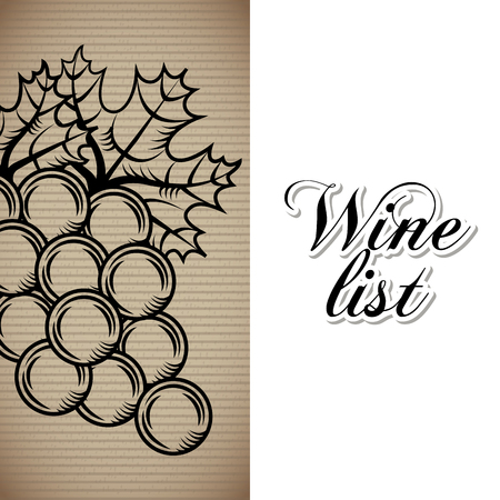 Wine list bunch grapes drink menu bar or restaurant vector illustration.