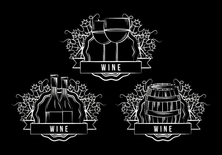collection stamps elegance wine white cups barrel bottle dark background vector illustration Illustration
