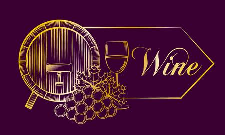 purple banner with gold design wine barrel grape cup drink vector illustration Foto de archivo - 96681105