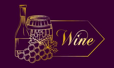 purple banner with gold design wine barrel bottle grapes drink vector illustration