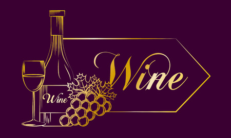 purple banner with gold design wine bottle cup grape drink vector illustration Foto de archivo - 96681108