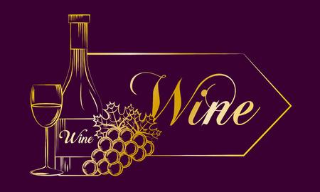 purple banner with gold design wine bottle cup grape drink vector illustration