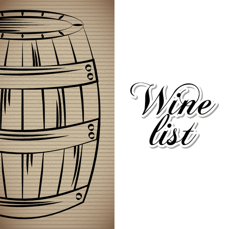 wine list wooden barrel drink menu bar or restaurant vector illustration