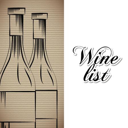 wine list glass bottles drink menu bar or restaurant vector illustration Foto de archivo - 96686151
