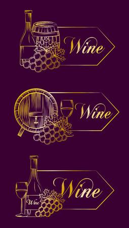Purple set banner wine drink vector illustration design.