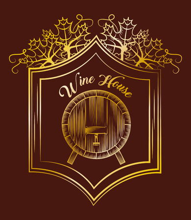 wine house wood barrel elegance vintage gold label brown background vector illustration Stock Photo