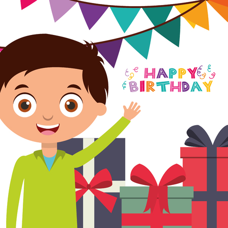 happy birthday greeting card boy with pile gifts vector illustration