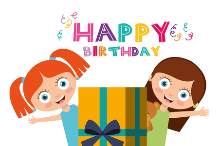 happy birthday card cute girls and wrapped gift box vector illustration Illustration