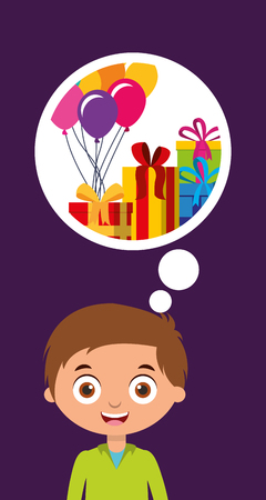 cute little boy thinking gifts and balloons happy birthday card vector illustration