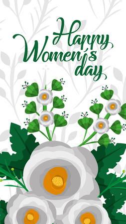 white flowers natural decoration banner happy womens day vector illustration