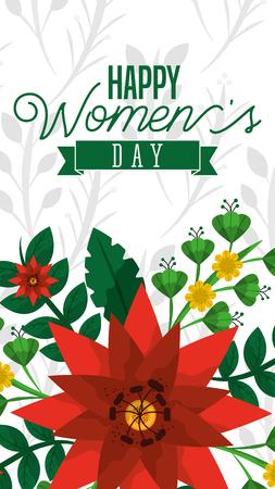orange flowers decoration banner happy womens day vector illustration
