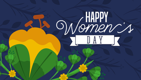 happy womens day card flowers leaves natural blue background vector illustration