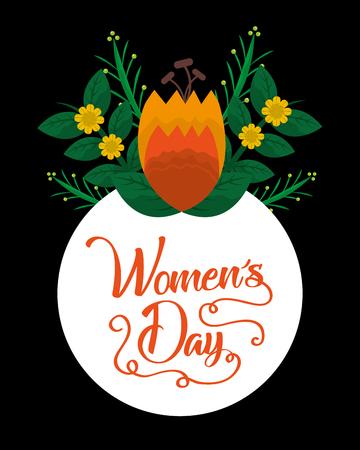 happy womens day orange flower round label black background vector illustration