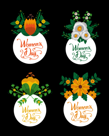 happy womens day set of round labels with flowers arrangement vector illustration Çizim