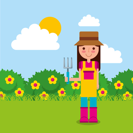 girl the gardener holding rake vector illustration