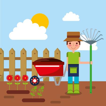 gardener character with rake, garden, wheelbarrow, flowers and wooden fence vector illustration
