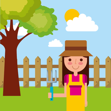 Cute girl cartoon gardening rake, tree, fence, sky vector