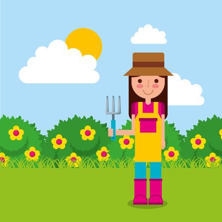 girl the gardener holding rake flowers bushes vector illustration vector Stock Photo