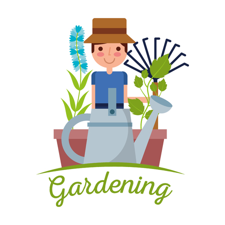 young man gardener with pitchfork plant and flower tree and wheelbarrow gardening image vector