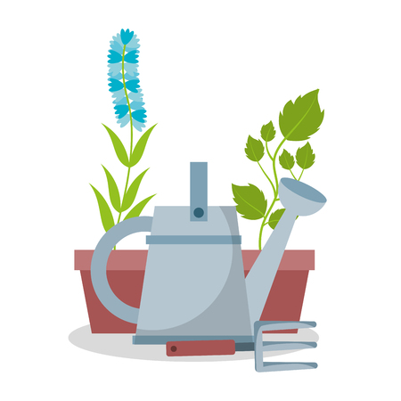 watering can with flower and rake vector