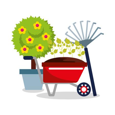 かわいい鉢植えの木の花の手押し車の植物とピッチフォークガーデニングベクター