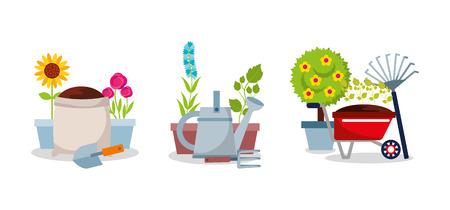gardening set equipment tools flowers tree plant vector