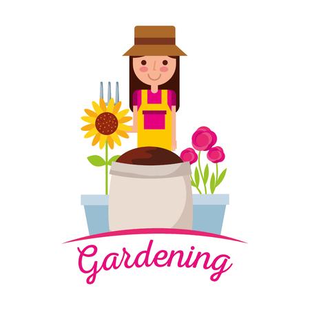 cute girl gardener with rake sunflower sack soil pot flower gardening image vector Illustration
