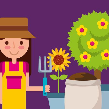 happy girl holding rake pot sunflower tree and sack soil garden vector