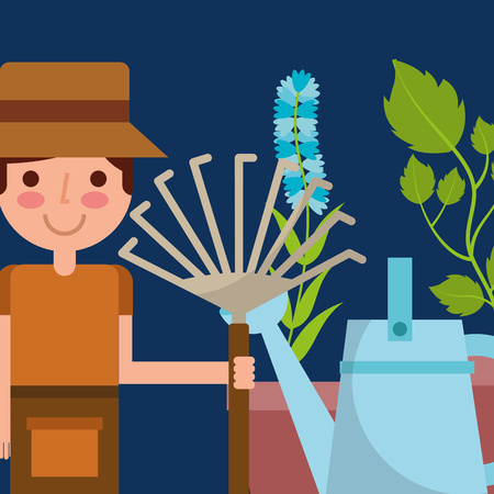 happy boy holding pitchfork watering can and flower plant garden vector