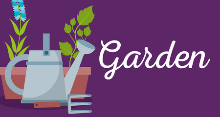 garden banner watering can rake and potted plant flower vector