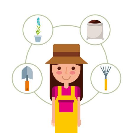 cute girl gardener in hat overalls andad gardening supplies vector Çizim