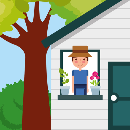 the young man in house window with potted flower and tree garden vector
