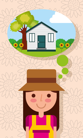 happy young woman thinking of house with garden tree flowers vector