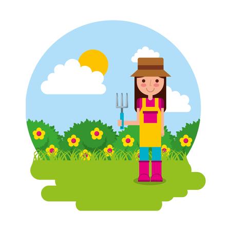 girl the gardener holding rake flowers gardening theme vector