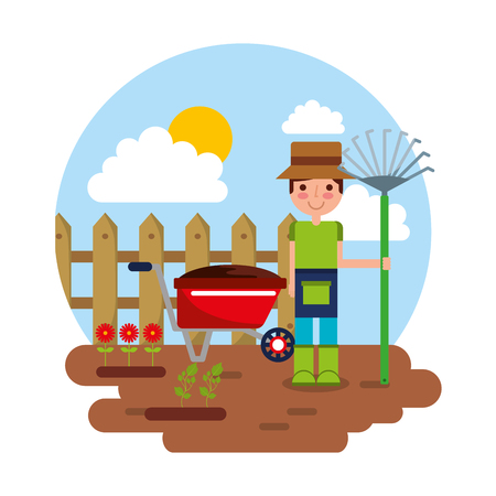 gardener character with rake garden wheelbarrow flowers gardening theme vector Illustration