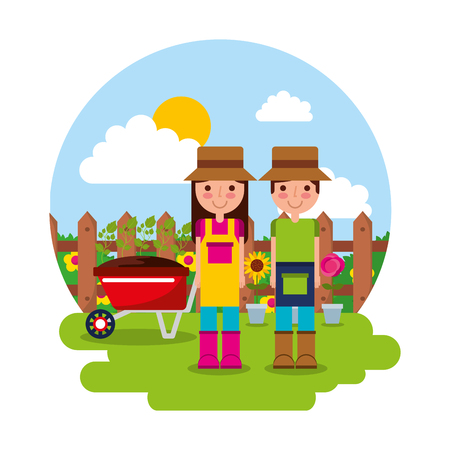 happy gardener couple with wheelbarrow potted flowers gardening theme vector