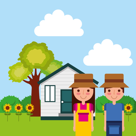gardener couple with house, tree, sunflowers vector illustration