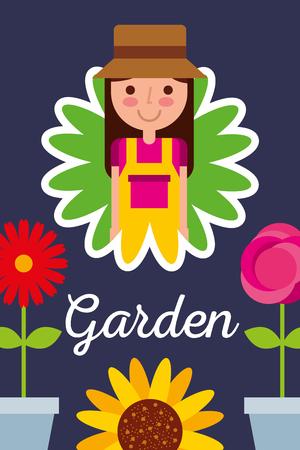 girl gardener in flower with pot flowers garden concept vector