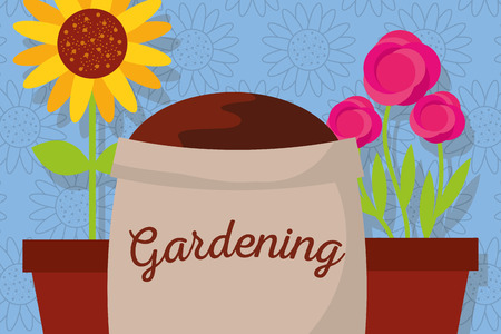 gardening banner with sack soil, roses and sunflower vector Stock Illustratie
