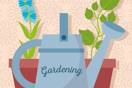 gardening watering can and pot plants vector