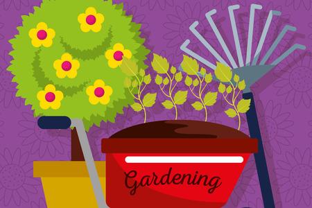 gardening banner with wheelbarrow, pitchfork, potted tree vector illustration