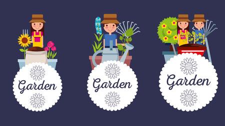 set of gardening people vector illustration