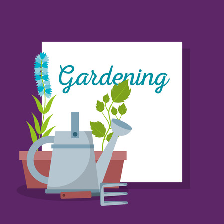 gardening lettering with rake and flowers vector illustration