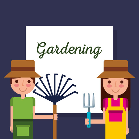 girl and boy gardener with rake and pitchfork vector illustration Stock Illustratie