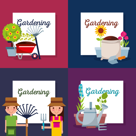 collection of gardening lettering with gardener vector illustration
