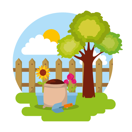potted flower with sack soil, shovel, fence, tree vector.   gardening concept Ilustração