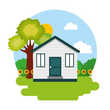 house with garden vector illustration Иллюстрация