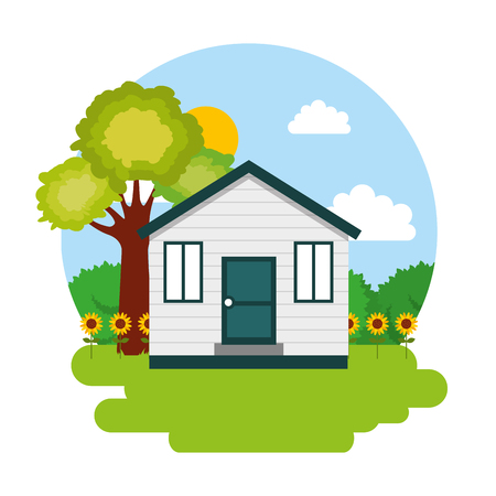 house with garden vector illustration Illustration