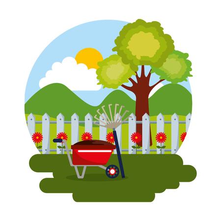 gardening scene with wheelbarrow, pitchfork, tree, flowers and fence vector