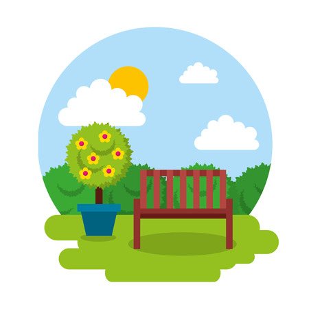 wooden bench with potted flower vector Illustration